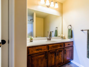 large bathroom vanity and lights
